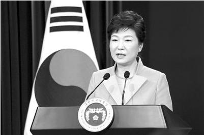 韩国总统朴槿惠在首尔总统府青瓦台举行的